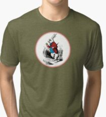 Alice in Wonderland | White Rabbit checking his Watch Tri-blend T-Shirt