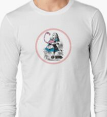 Alice in Wonderland | Alice trying to play croquet with a Flamingo and Hedgehogs Long Sleeve T-Shirt