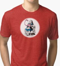 Alice in Wonderland | Alice trying to play croquet with a Flamingo and Hedgehogs Tri-blend T-Shirt