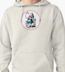 Alice in Wonderland   Alice trying to play croquet with a Flamingo and Hedgehogs Pullover Hoodie