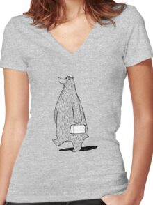 Mr. Bear Goes to Work Women's Fitted V-Neck T-Shirt