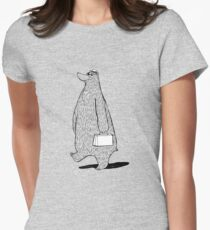 Mr. Bear Goes to Work Womens Fitted T-Shirt
