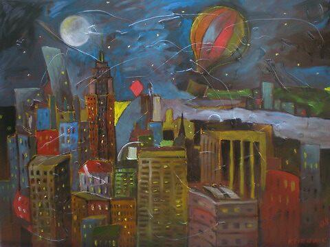 THE NIGHT ABOVE NEW YORK CITY, limited edition giclee of D.KLIKOVAC painting by Drasko Klikovac