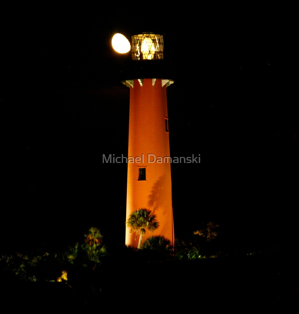 Lighthouse and the Moon by Michael Damanski