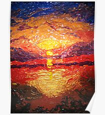 """""""Abstract Sunset Finger painting"""" Poster"""