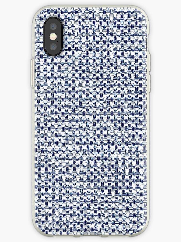 'Itajime Shibori Geometric Check Indigo Blue Textile Print' iPhone Case by  Saburkitty