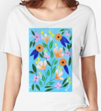 Flowers on blue Women's Relaxed Fit T-Shirt
