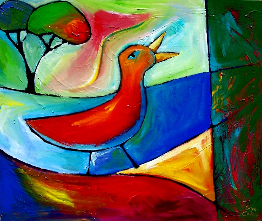 TRUE SONG OF THE LOVEBIRD. by ART PRINTS ONLINE         by artist SARA  CATENA