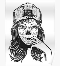 Zombie Girl , Vintage Tattoo  Poster