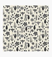 Vintage chic ivory black gray tropical floral Photographic Print