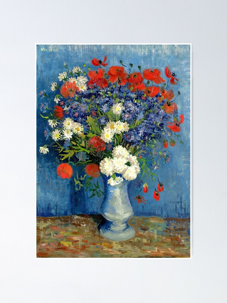 Alternate view of Vase With Cornflowers And Poppies Poster