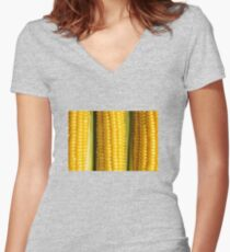 Three corn ears. Vegetable concept background Women's Fitted V-Neck T-Shirt
