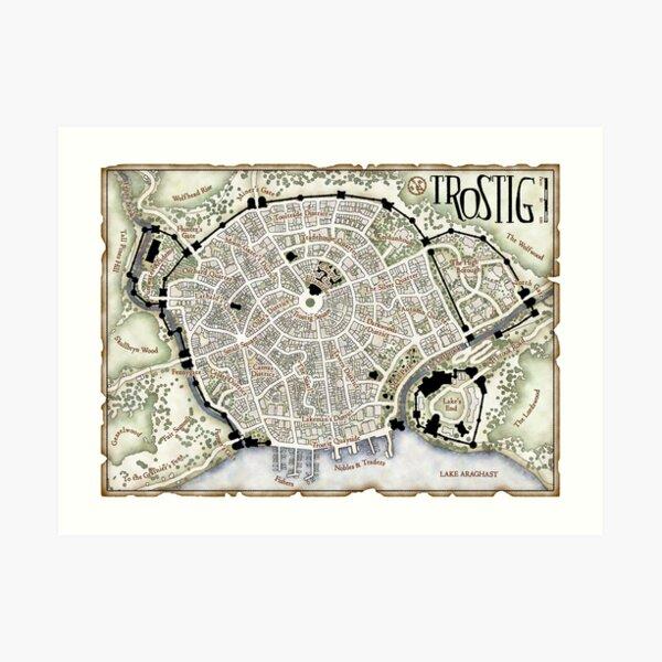 Trostig Town Plan Art Print