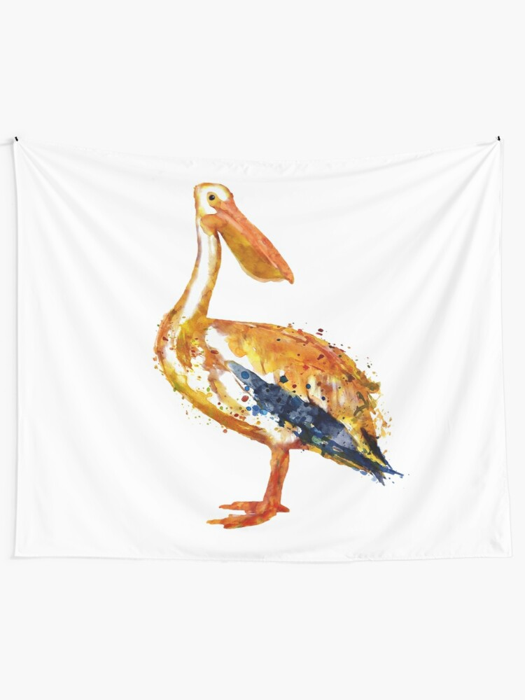 Pelican Watercolor Painting Tapestry By Caracatita75 Redbubble