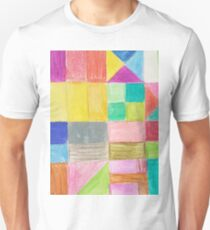 Abstract hand painted colorful crayon geometric pattern T-Shirt