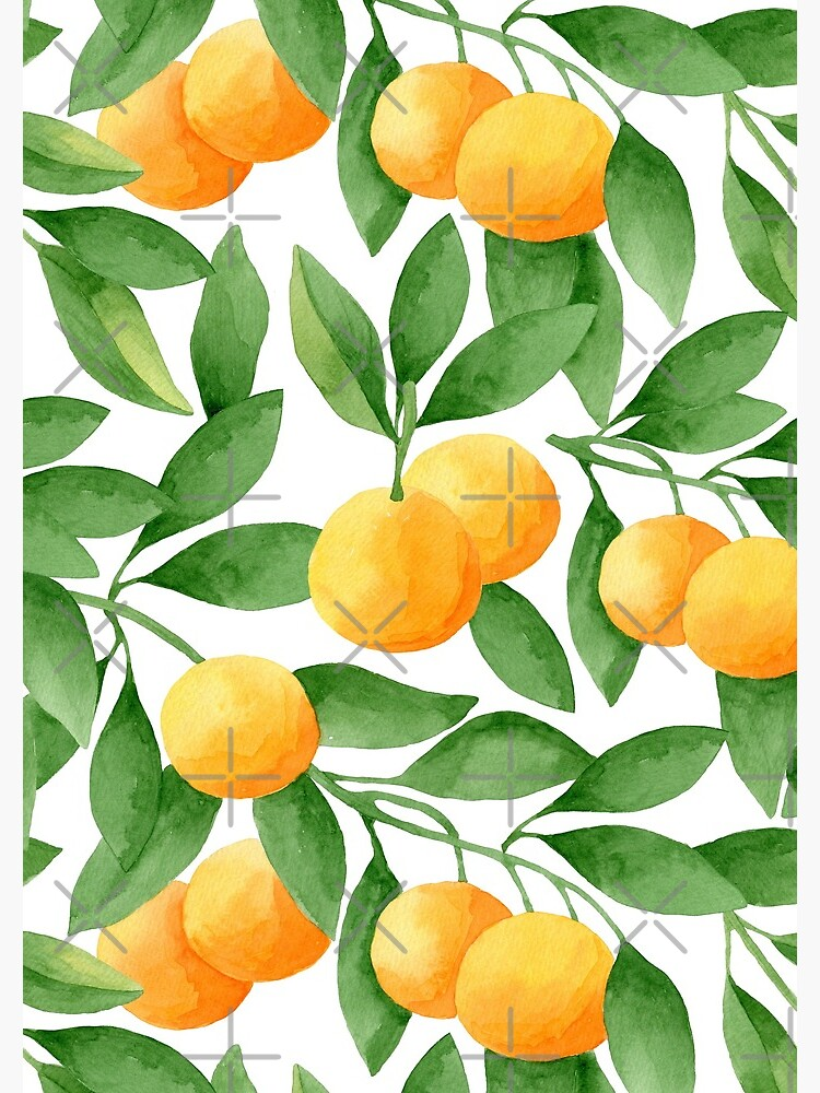 Watercolor Tangerines Pattern by helga-wigandt