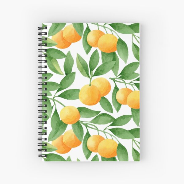 Watercolor Tangerines Pattern Spiral Notebook