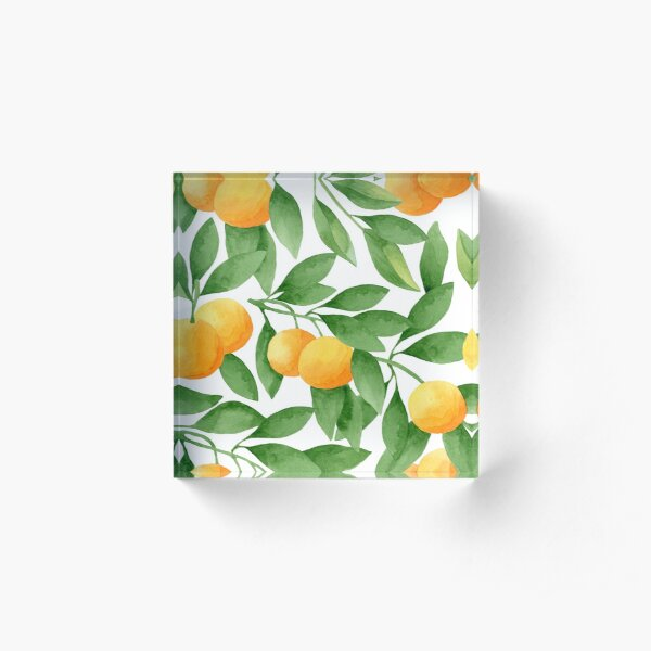Watercolor Tangerines Pattern Acrylic Block