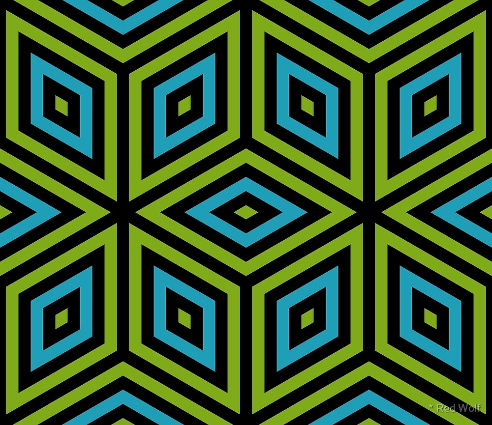 Geometric Pattern: Nested Cubes: Blue/Green by * Red Wolf