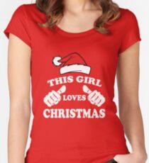 Dieses Mädchen liebt Weihnachten Tailliertes Rundhals-Shirt