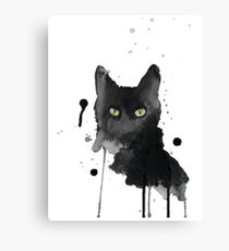 Scary black cat with green eyes Canvas Print