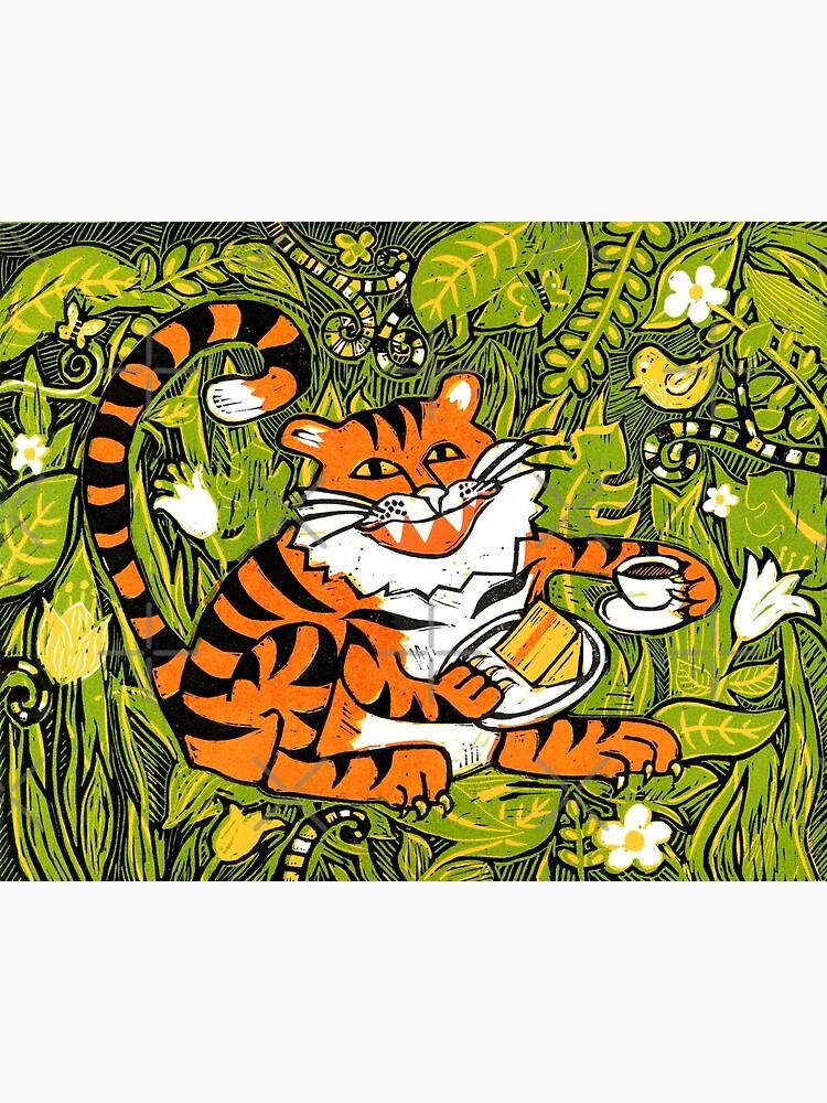 Tiger tea time - Original Linocut by Francesca Whetnall by Cecca-Designs
