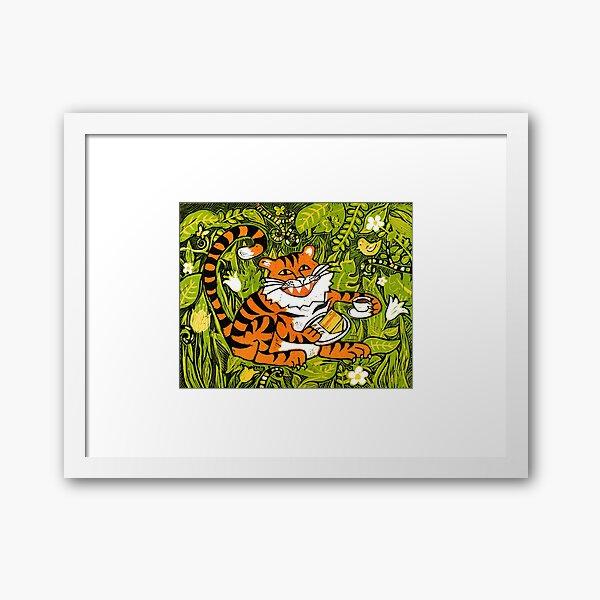Tiger tea time - Original Linocut by Francesca Whetnall Framed Art Print