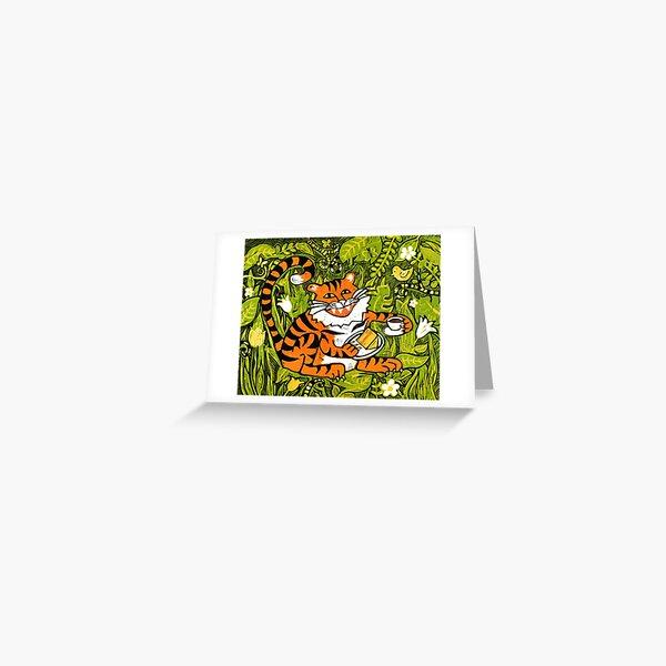 Tiger tea time - Original Linocut by Francesca Whetnall Greeting Card