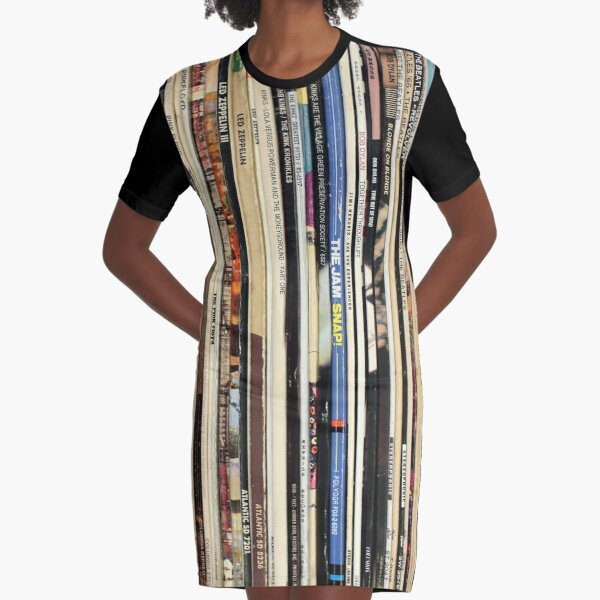 Classic Rock Vinyl Records  Graphic T-Shirt Dress