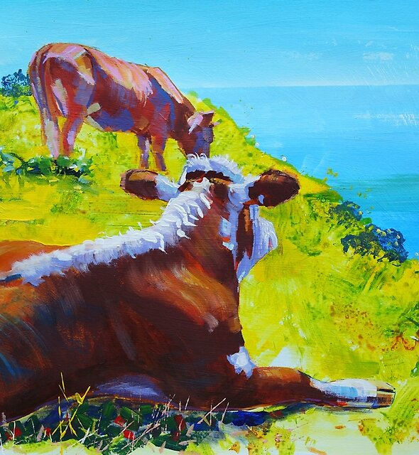 Cows Painting - Summer Loving by MikeJory