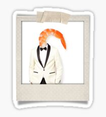 polaroid of a classy shrimp in a dinner jacket Sticker