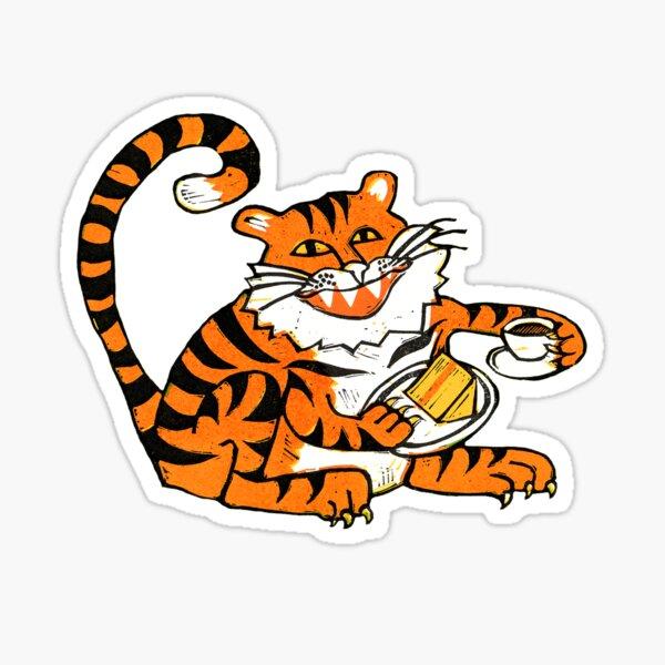 Tiger tea time - Original Linocut by Francesca Whetnall Sticker