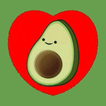 Cute Avocado In Red Heart by Almdrs