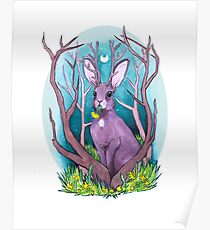 Jackalope Under the Moon Poster