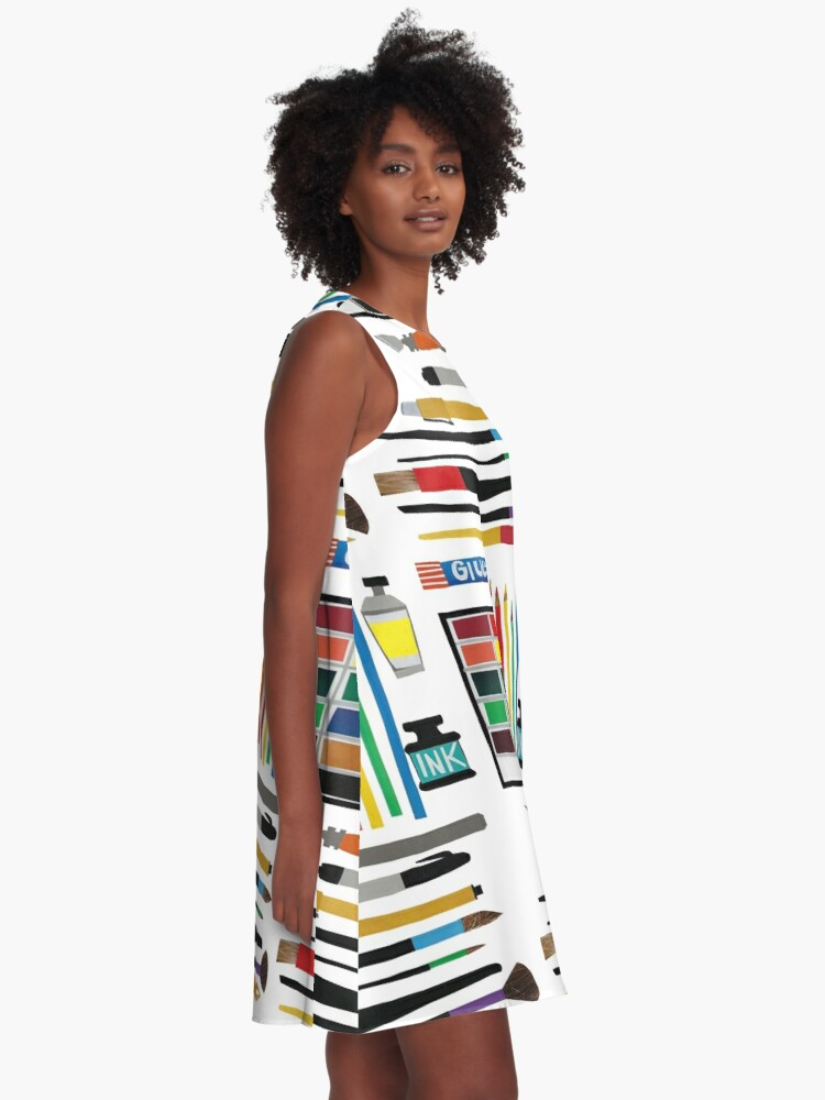 Alternate view of Art Supplies Collage A-Line Dress