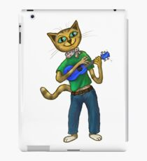 Cat On A Uke - ukulele-playing cat iPad Case/Skin