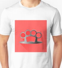 Metal Knuckle Isolated on Red Background. Long Shadow. Unisex T-Shirt