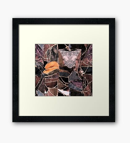 leather patches Framed Print