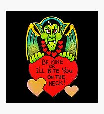 """Bite Me"" in Black - Vampire, Dracula, Vintage, Retro, Valentine's, Day, Card, Love, Hearts, Red, Scary, Spooky, Halloween, Holiday, Bats, Funny, Humor, Silly, Cute Photographic Print"
