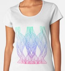 Psychedelic, decorative pattern, waves, lines, blue blue pink gradient color outline Women's Premium T-Shirt
