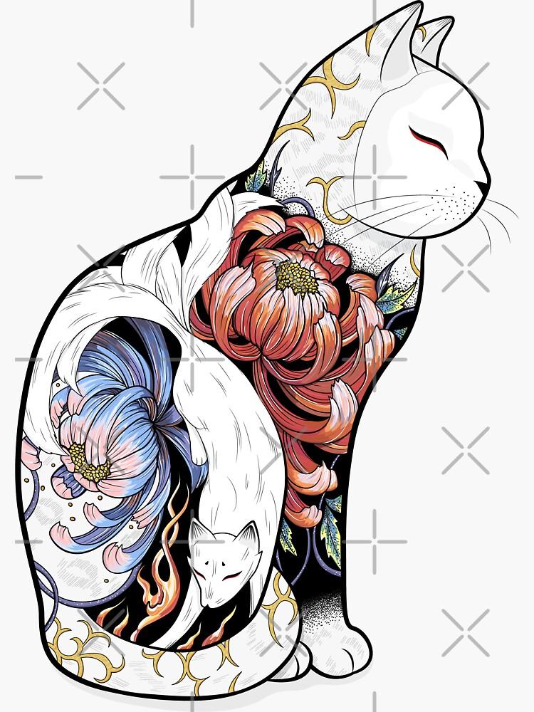Tatuaje Gato Kitsune de runcatrun