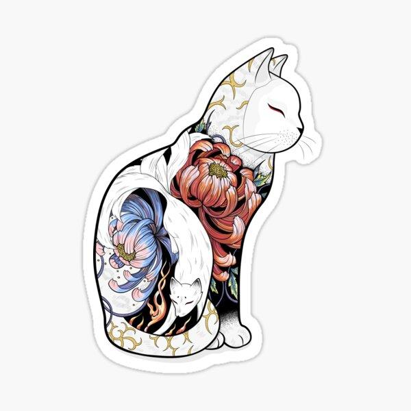 Tatouage Chat Kitsune Sticker