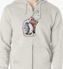 Kitsune Cat Tattoo  Zipped Hoodie