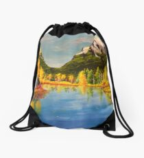 Landscape with yellow trees Drawstring Bag