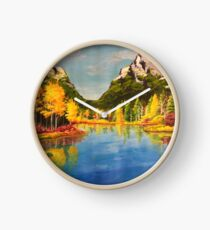Landscape with yellow trees Clock