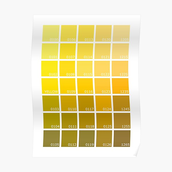 Shades of Yellow Pantone Poster