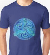 Seahorse Triskele Blue Celtic Mandala Unisex T-Shirt