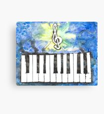 Treble Clef + Keyboard (Watercolor) Canvas Print