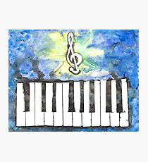 Treble Clef + Keyboard (Watercolor) Photographic Print