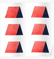 Red Blue Watercolor Pattern Poster